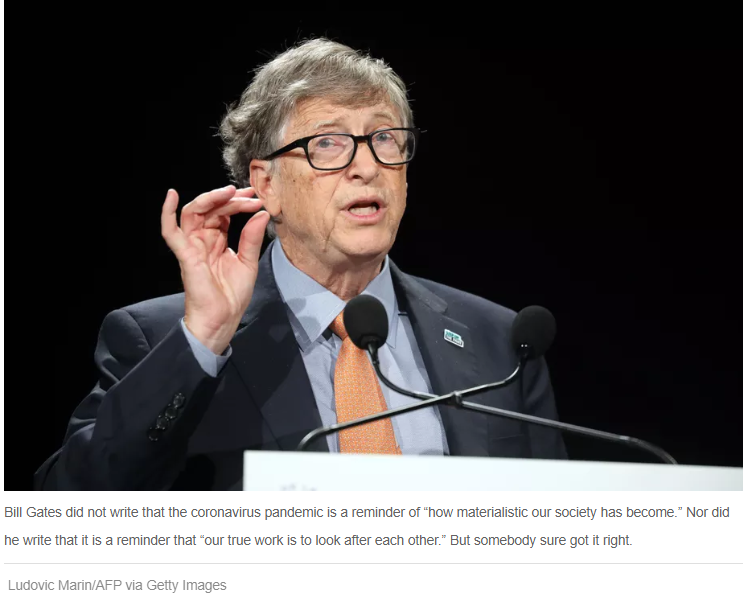 What Bill Gates DID NOT WRITE about Covid March 2020